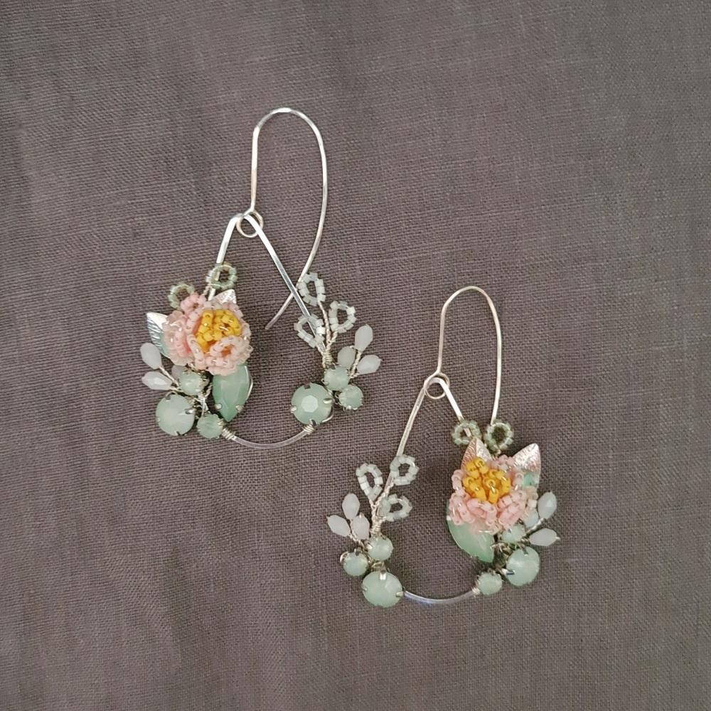 PEONY | Statement Chandelier Floral Teardrop Earrings