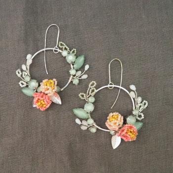 PEONY | Statement Floral Hoop Earrings