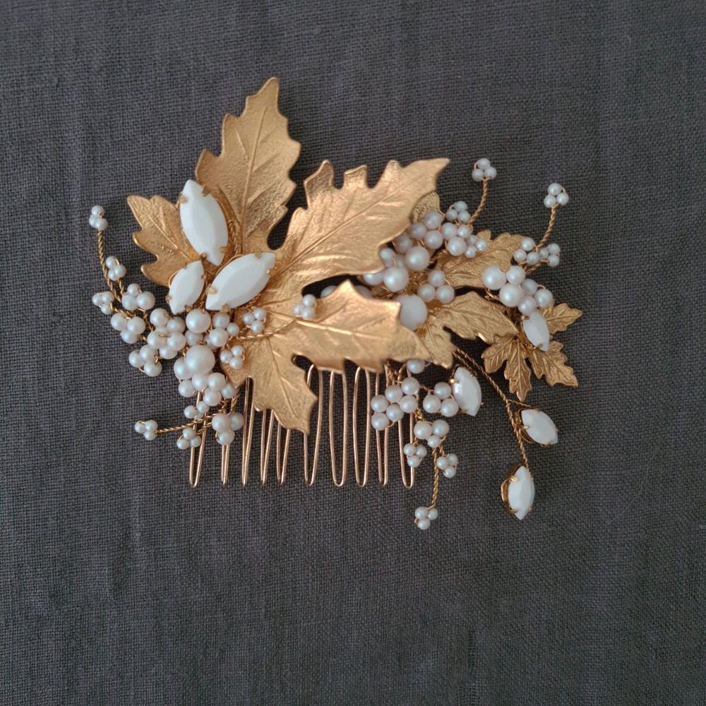 MAPLE   Autumn Leaf Gold and White Pearl Asymmetrical Bridal Hair Comb