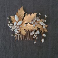MAPLE | Autumn Leaf Gold and White Pearl Asymmetrical Bridal Hair Comb