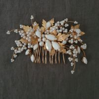 MAPLE   Autumn Leaf Gold and White Pearl Bridal Hair Comb