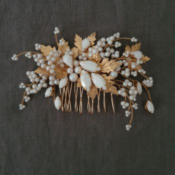 MAPLE | Autumn Leaf Gold and White Pearl Bridal Hair Comb