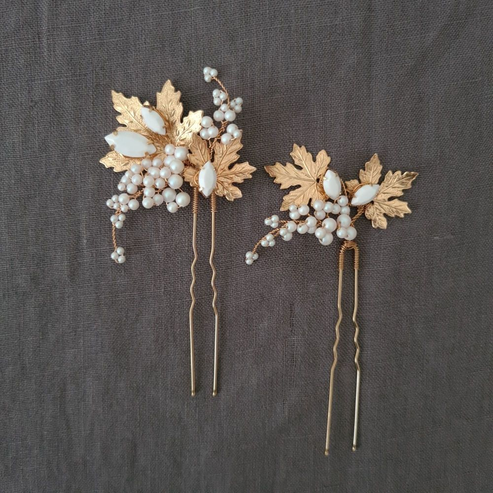 MAPLE   Pair of Autumn Maple Leaves and Pearls Wedding Hair Pins