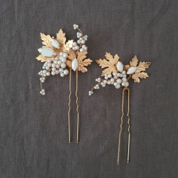MAPLE | Pair of Autumn Maple Leaves and Pearls Wedding Hair Pins