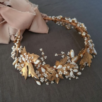 MAPLE | Autumn Leaf Gold and White Pearl Wedding Crown Headdress