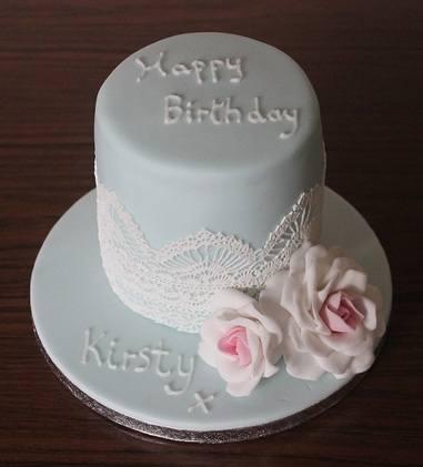 small blue cake
