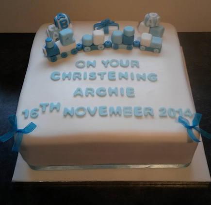 Christening train cake