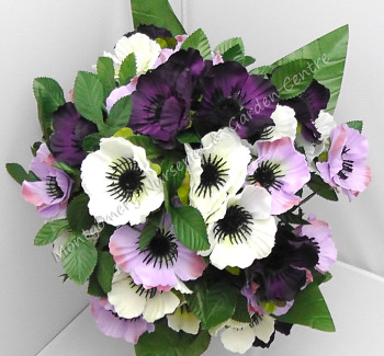 Anenome Bush 35 Heads White Lavender Purple #1077