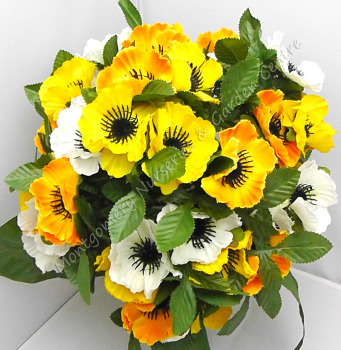 Anenome Bush 35 Heads White Yellow Orange #1077