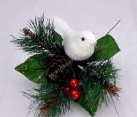 """1 x 7"""" Large Christmas Pick With Dove/Berries & Pine Cone #453750"""