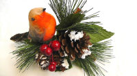 "1 x 7"" Christmas Robin, Cone, Berry & Foliage Pick #425662"