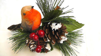 "1 x 7"" Christmas Robin, Cone, Berry & Foliage Pick #425662"