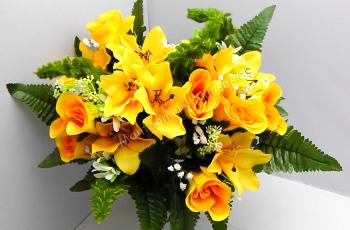 Rose Bud/Lily Mixed Bush x 24 Heads Yellow #10825
