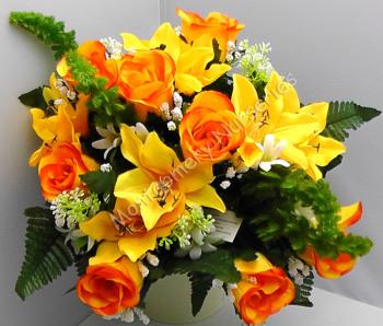 Rose Bud/Lily Mixed Bush x 24 Heads Yellow Orange #10825
