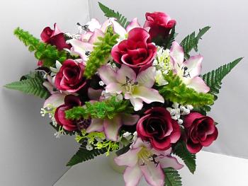Rose Bud/Lily Mixed Bush x 24 Heads Burgundy #10825