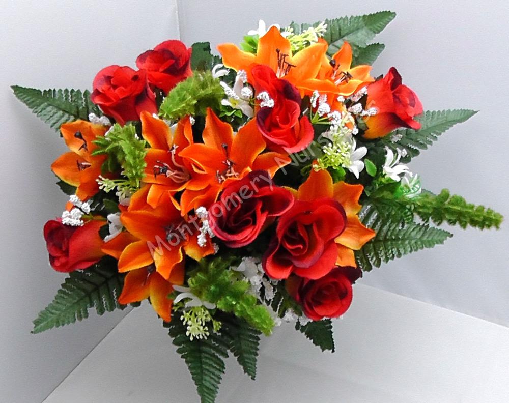 Rose Bud/Lily Mixed Bush x 24 Heads Orange Red #10825