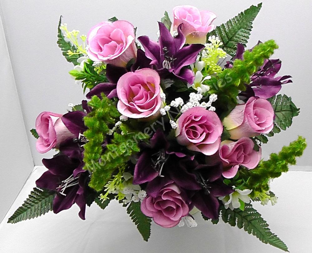 Rose Bud/Lily Mixed Bush x 24 Heads Purple #10825