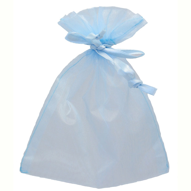 Baby Blue Organza Favour Bags Size:12x17cm, 10 bags #bg2004