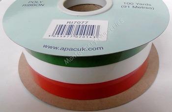 50mm x 100yds Tri-Colour Ribbon Green White Orange Polyribbon #RI7077