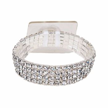 Rock Candy Bracelet Elasticated - Silver #RC203