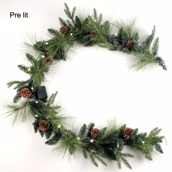 Pine garland - 6ft - Green With Cones & Led Lights #2297
