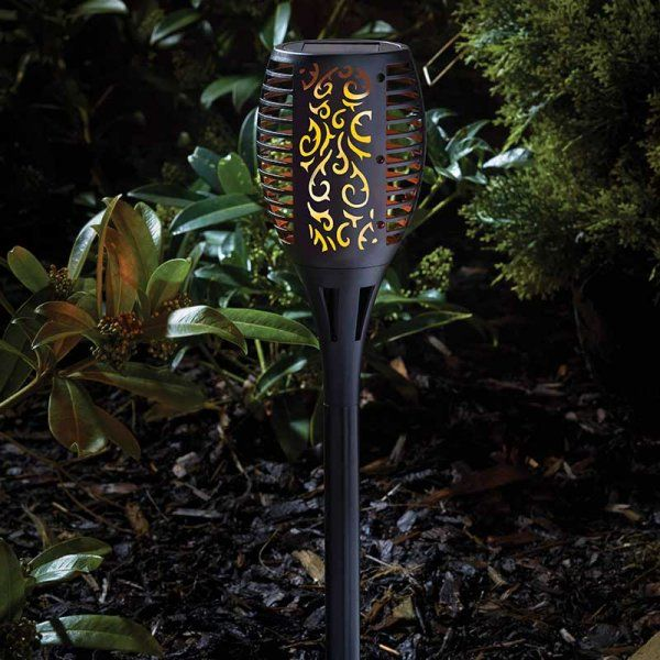 Flaming Torch - Black - Solar Powered x 1 #1012620