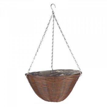 """Chestnut Faux Rattan Basket - 14"""" x 1 #6020061"""