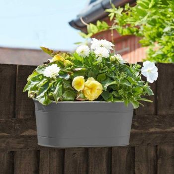 "12"" Fence & Balcony Hanging Pot x 1 - Slate #6030301"