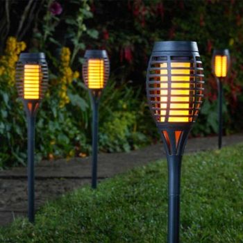 Flaming Torch - Black - Solar Powered x 5 #1012000