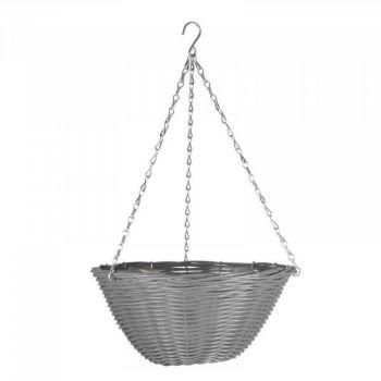 """Slate Faux Rattan Basket - 14"""" x 1 #6020071"""