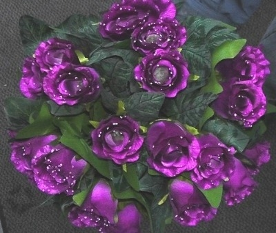 Silk dew drop rose bush 24 head purple #63