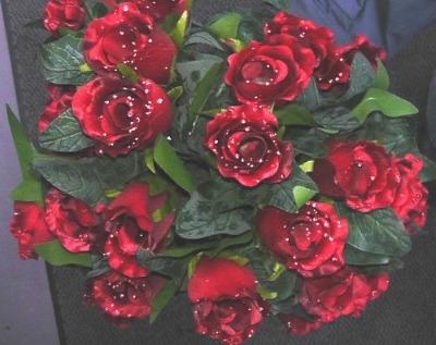 Silk dew drop rose bush 24 head red #63