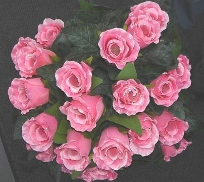 Silk dew drop rose bush 24 head pink #63