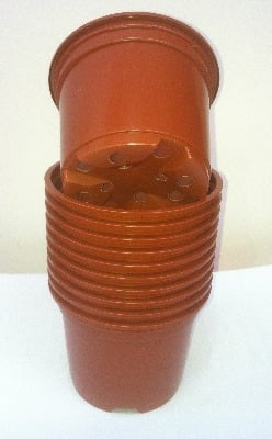 50 x 9cm Plastic Pots Terracotta For Bedding & Seeds