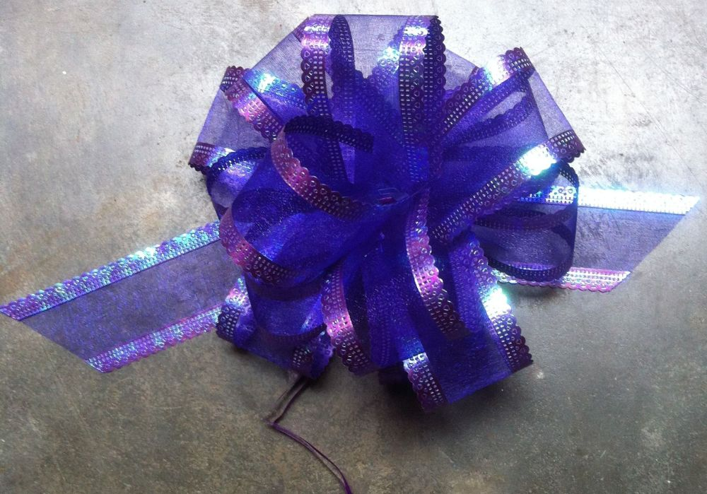 Organza Pull bow (purple) 50mm