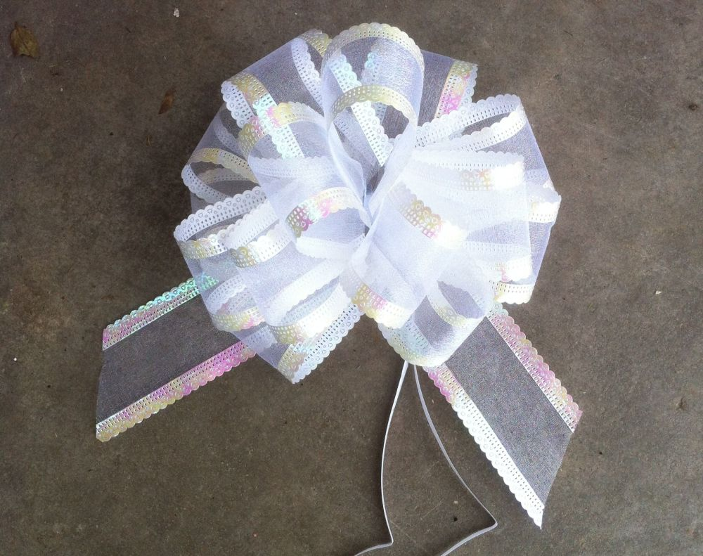 Organza Pull bow (white) 50mm