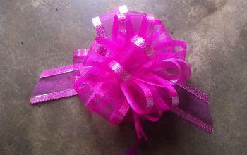 Organza Pull Bow (Dark Pink) 50mm x1