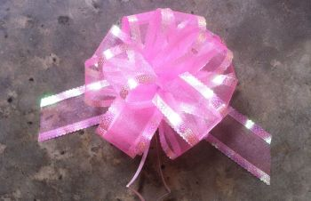 Organza Pull Bow (Light Pink) 50mm