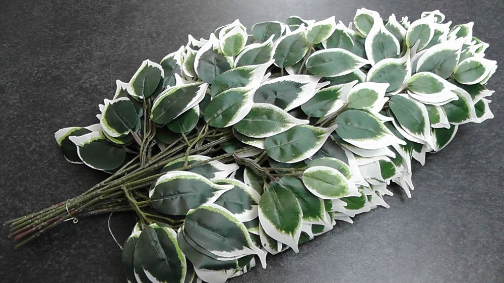 Artificial Ficus Leaf 60cm Variegated 42 Leaf Floral-Supplies