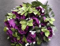 55cm Rose Bud Bush With Gyp 24 Heads Purple #520