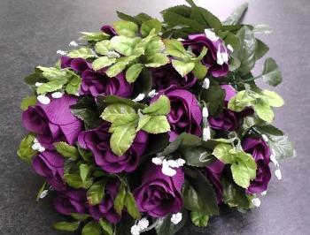 55cm Rose Bud Bush With Gyp 24 Heads Purple #520