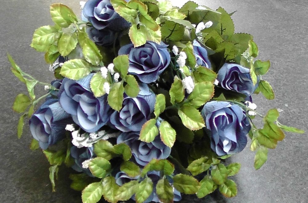 Rose Bud Long Stem 55cm With Gyp 24 Heads #087 BLUE
