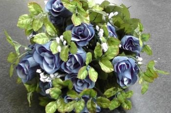 55cm Rose Bud Bush With Gyp 24 Heads Blue #520