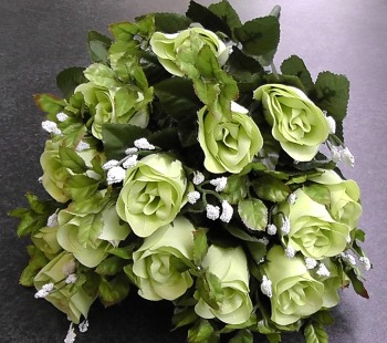 55cm Rose Bud Bush With Gyp 24 Heads Lime #520