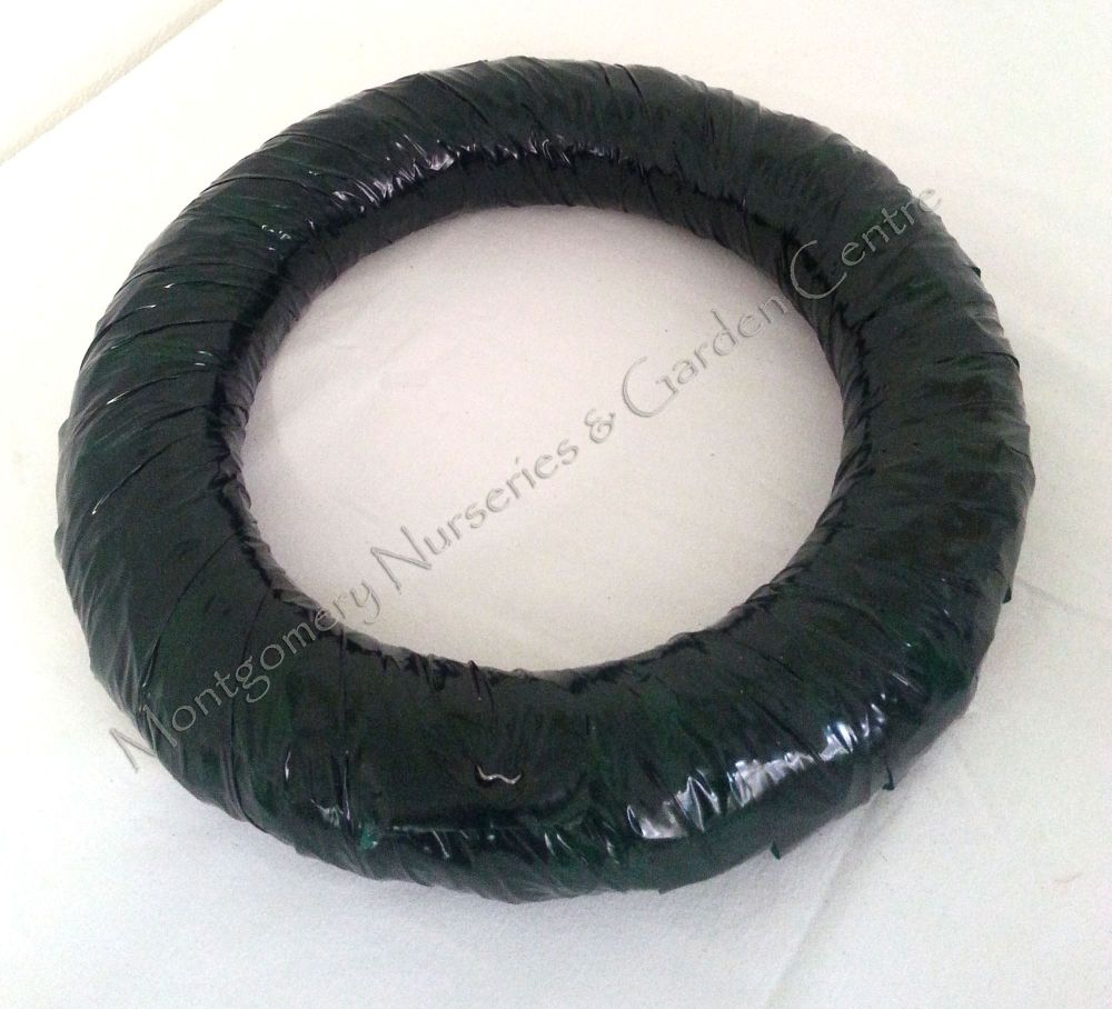 1 x Straw Wreath Ring (14inch) Wrapped in Green Wreath Wrap