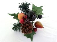 """1 x 7"""" Large Natural Assorted Fruit Pick Christmas #439428"""