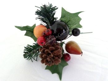 "1 x 7"" Large Natural Assorted Fruit Pick Christmas #439428"