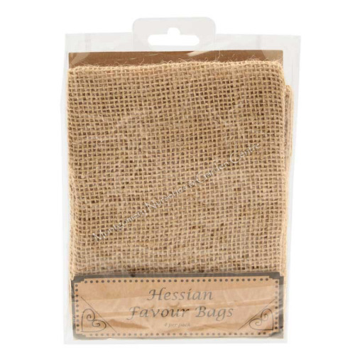 Hessian Favour Bags X 4 With Ties Wed223