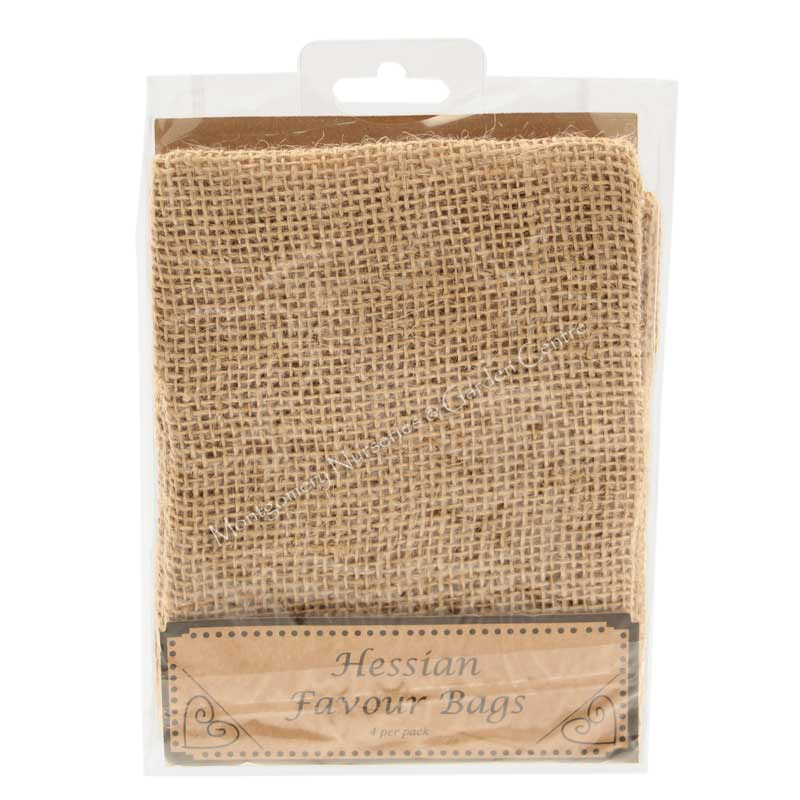 Hessian Favour Bags x 4 with Ties #wed223