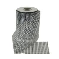 12cm x 5yds Diamanté Ribbon Silver